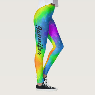 Rainbow Colors Leggings Personalize Name