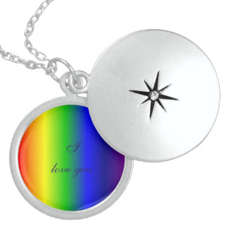 Rainbow Colors Love Sterling Silver Round Locket