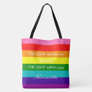 Rainbow Colors Namaste Greeting Inspirational Love Tote Bag