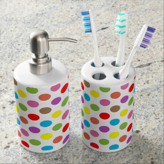 Rainbow colors polka dots pattern bathroom set