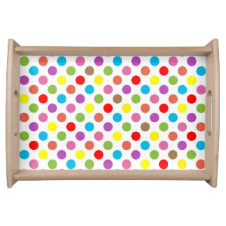 Rainbow colors polka dots pattern serving tray