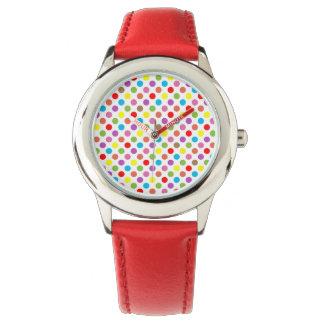 Rainbow colors polka dots pattern watch
