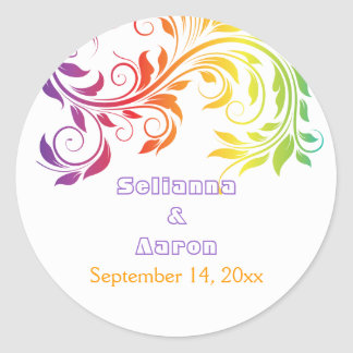 Rainbow colors scroll leaf wedding Save the Date Round Sticker