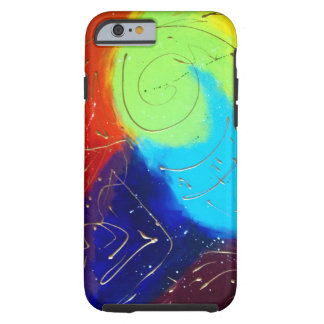 Rainbow colour abstract painting with gold swirls tough iPhone 6 case