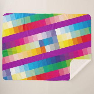 Rainbow Colour Pallet Sherpa Blanket