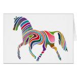 Rainbow Colour-Striped Horse Greeting Card
