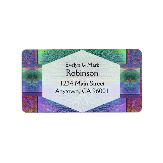 Rainbow Coloured Blue and Green Tree Address Label