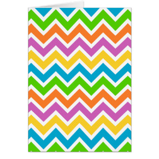 rainbow coloured chevron zigzag pattern design card