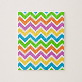rainbow coloured chevron zigzag pattern design jigsaw puzzle