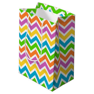 rainbow coloured chevron zigzag pattern design medium gift bag