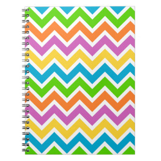 rainbow coloured chevron zigzag pattern design notebook