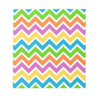 rainbow coloured chevron zigzag pattern design notepads