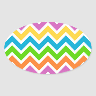 rainbow coloured chevron zigzag pattern design oval sticker