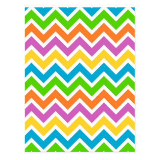 rainbow coloured chevron zigzag pattern design postcard