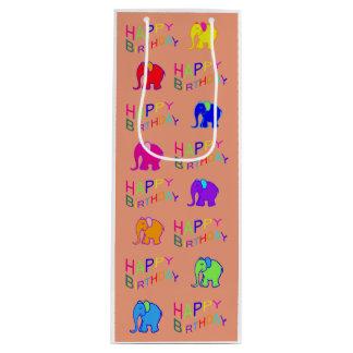 Rainbow Coloured Cute Cartoon Elephants Birthday Wine Gift Bag