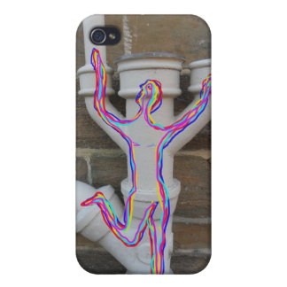 Rainbow coloured drawn man on old stone wall pipes cases for iPhone 4