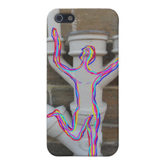 Rainbow coloured drawn man on old stone wall pipes iPhone 5 cover
