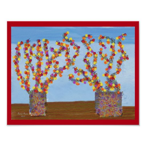 Rainbow coloured flowers poster