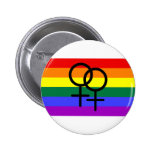 Rainbow Coloured Lesbian Pride Flag Buttons