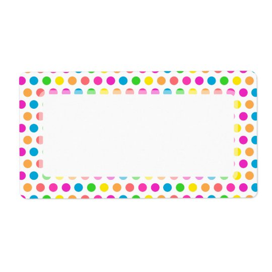 Rainbow Coloured Polka Dots Fun Happy Pattern Shipping Label