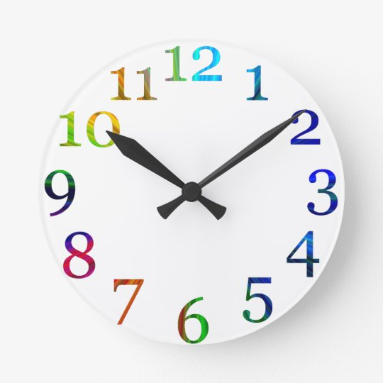 rainbow colourful numbers wall clock
