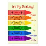 Rainbow Colours Crayons Birthday Party 13 Cm X 18 Cm Invitation Card