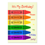 Rainbow Colours Crayons Birthday Party Invites