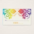 Rainbow colours damask wedding place card