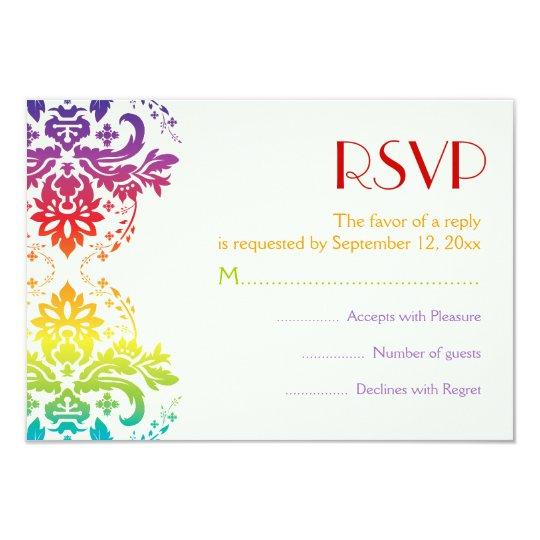 Rainbow colours damask wedding RSVP Card