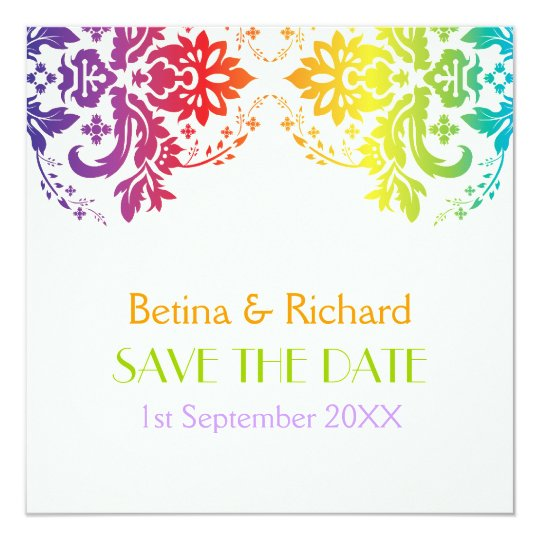 Rainbow colours damask wedding Save the Date Card