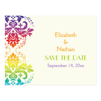 Rainbow colours damask wedding Save the Date Postcards