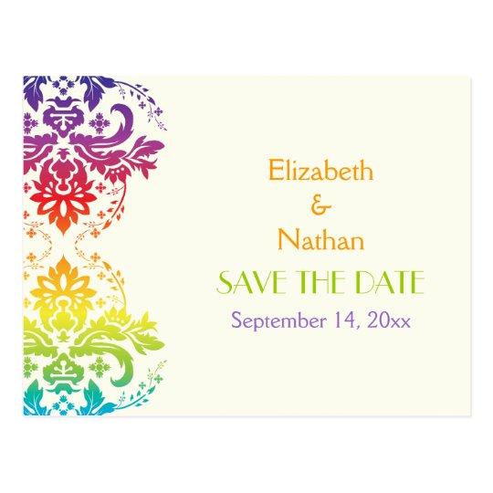 Rainbow colours damask wedding Save the Date Postcard