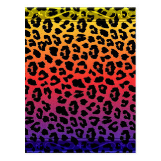 Rainbow Colours Fantasy Leopard Print Pattern Postcard