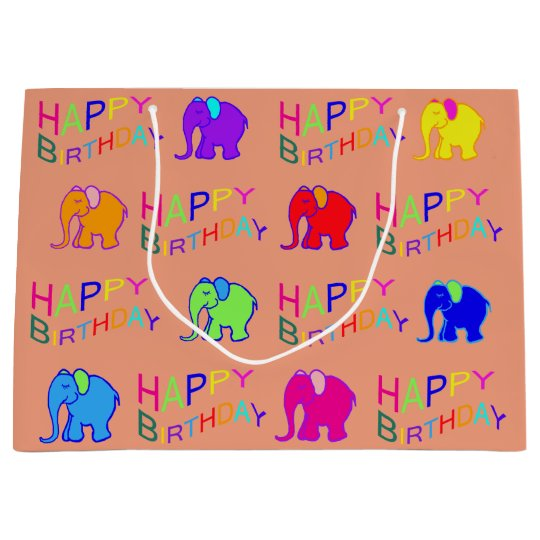 Rainbow Colours Happy Cartoon Elephants Birthday Large Gift Bag