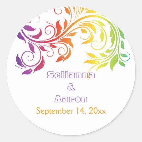 Rainbow colours scroll leaf wedding Save the Date