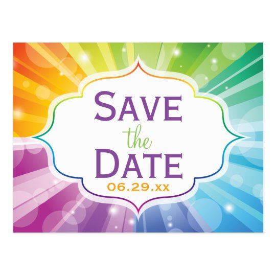 Rainbow Colours Striped Save the Date Post Card