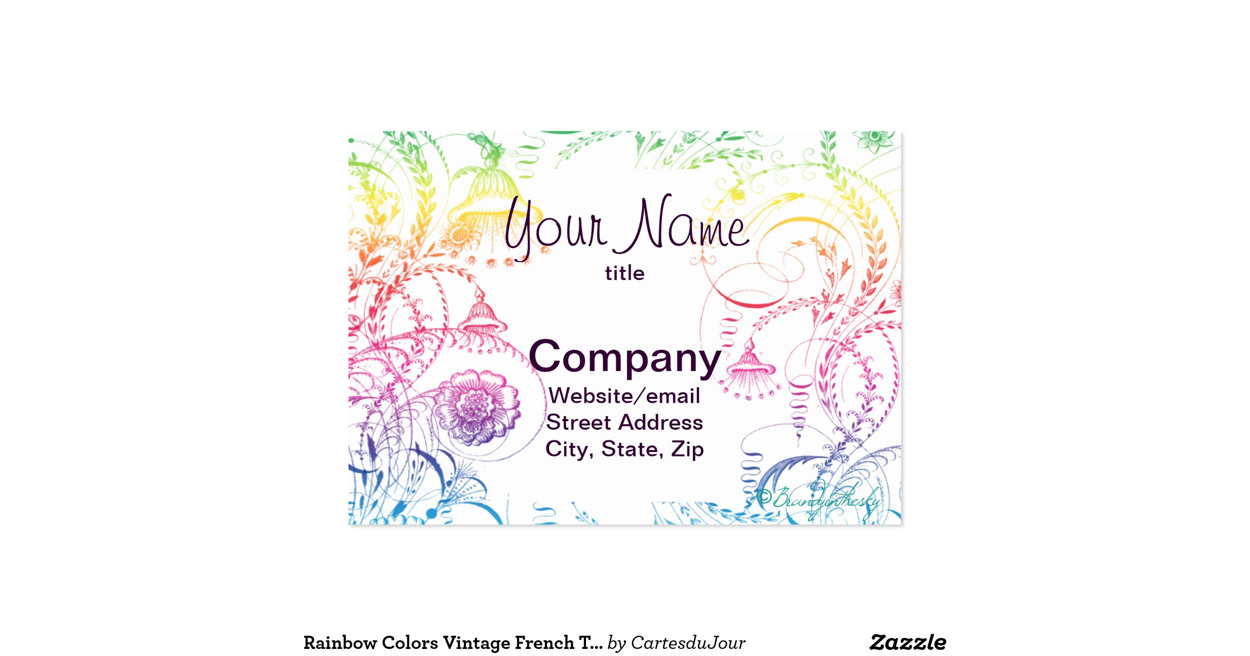 Rainbow Colours Vintage French Toile Design Pack Of Chubby