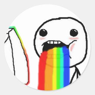 Rainbow Computer face Round Sticker