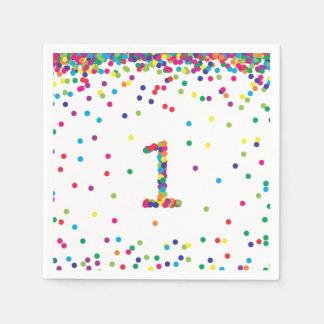 Rainbow Confetti 1st Birthday Napkins Disposable Napkins
