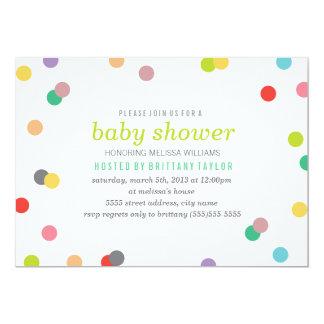 """Rainbow Confetti Baby Shower Invite 5"""" X 7"""" Invitation Card"""