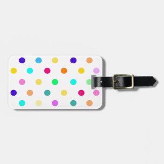 Rainbow Confetti polka dots luggage tag