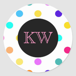 Rainbow confetti polka dots sticker