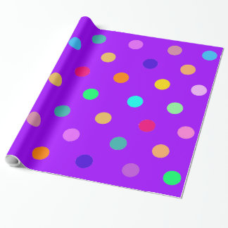 Rainbow confetti polka dots wrapping paper