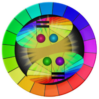 Rainbow Contemporary Musical Color Wheel Plates