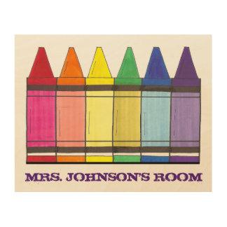 Rainbow Crayon Personalized Classroom Teacher Art