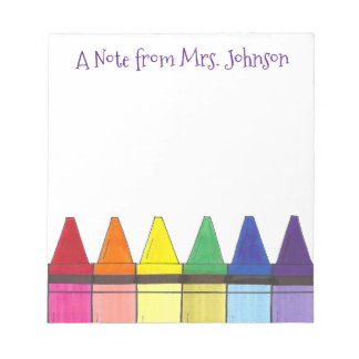 Rainbow Crayons A Note From Art Teacher Notepad