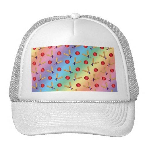 Rainbow cricket pattern trucker hats