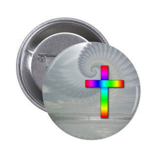 Rainbow Cross on a Cloudy Day Button