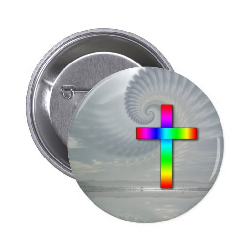 Rainbow Cross on a Cloudy Day Button