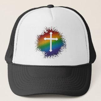 Rainbow Cross Trucker Hat
